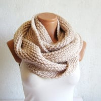 Hand made knitted infinity scarf Block Infinity Scarf. Loop Scarf, Circle Scarf, Neck Warmer. Vanilla Crochet Infinity