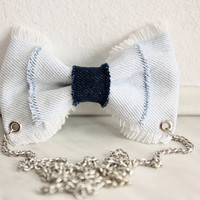Light and Dark Jeans Bow Necklace
