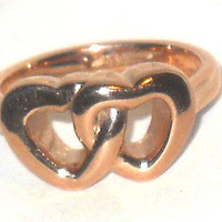 Double Intertwined Heart Stainless Steel Ring - size 7