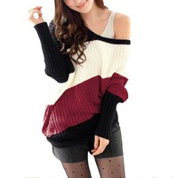 Allegra K Ladies Slant Stripes Pullover Long Sleeve Leisure Knit Autumn Sweater Red XS