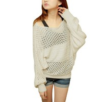 Allegra K Lady Braid Pattern Scoop Neck Long Sleeves Hook Autumn Beige Sweater XS