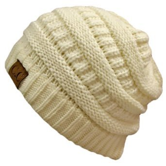 Winter White Ivory Thick Slouchy Knit Oversized Beanie Cap Hat: Clothing