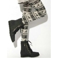 Women's Knitted Legging Tights Pants Multi-patterns Warm Soft Retro New One Size (White&Black deer)