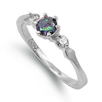 Rhodium Plated Sterling Silver 6mm Rainbow Topaz & Cz Ring (Size 4 - 9): Jewelry: Amazon.com