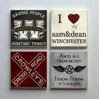 Supernatural SPN Fandom - Ceramic Tile 4-pc. Refrigerator Memo Magnet Set Magnets - Angel Trenchcoat Crowley and More