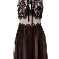 STYLEBOP.com | Black/Nude Silk and Lace Dress by ALBERTA FERRETTI | the latest trends from the fashion capitals of the world