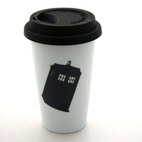 Dr Who Tardis Travel Mug Double Walled Porcelain