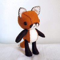 Red Fox Plush Art Doll, Aiden (Made to Order)
