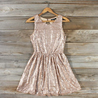 Rose Quartz Glittering Party Dress, Sweet Women's Bohemian Clothing