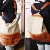 Korean Lady Girl Canvas PU Leather Hobo Backpack Satchel Shoulder Bag