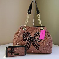 Betsey Johnson Key Item Tote + Zip Around Wallet Taupe