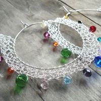 multicolor wire crochet silver plated hoops earrings - crystal beads