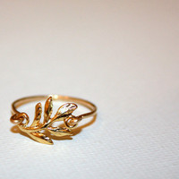 filum - fern leaf 14 karat gold ring by lilla stjarna - ft. vermeil charm, 14k gold - gifts under 50