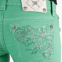 "$112 PEPPERMINT MISS ME ""3 FLOWERS"" SKINNY JEAN BUCKLE EXCLUSIVE"