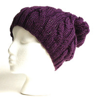 Purple Slouchy Beanie - Hipster Knit Hat - Plum Purple - Acrylic Yarn