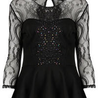 Lace Sequin Peplum Top