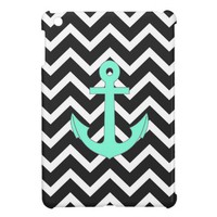 Black Chevron Tiffany Anchor Chevron Pattern iPad Mini Covers from Zazzle.com