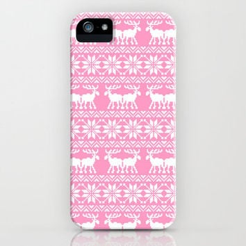 Ugly Christmas Sweater Moose Pattern Pink iPhone Case by Rex Lambo | Society6