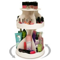 "Amazon.com: Cosmetic Organizer that Spins ! Makeup is Now at Your Fingertips. Pretty in White & Perfect for any Countertop, Almost Triples Your Storage, Only 12"" needed & No More Clutter!! ...Proudly Made in the USA! by PPM.: Beauty"