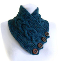 Men,Women,unisex, Cerulean,Tweed, neckwarmers, autumn, wool, hand-knitted,fashion,gift,valentines day