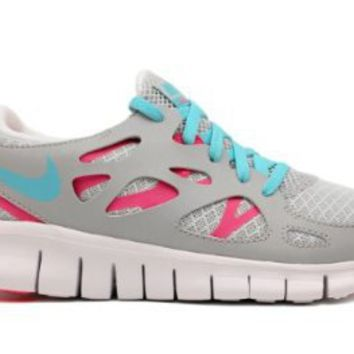 Nike Free Run 2.0 GS Grey Blue Pink Flash 2012 Youth Running Shoes 477701-007