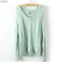 New Womens European Fashion Crewneck Woven flower knit Sweater 3 Colors B496