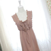 Romantic Fall dusty pink ruffles apron sundress shabby chic tank tunic frills casual mini dress