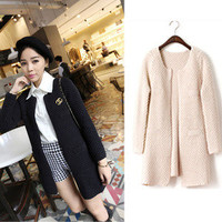 Women Long Loose Cardigan Ribbed Knit Sweater Round Neck Pocket Coat Free Ship