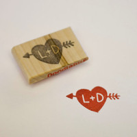 Personalized Heart &amp; Arrow Hand Carved Stamp