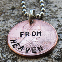 Penny from Heaven  Hand Stamped Penny by DesignByAnyOtherName