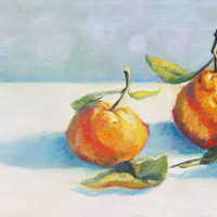 Leafy Tangerines fruit painting Art by Brandy Cattoor. Kitchen, small, orange, blue, shadow, still life