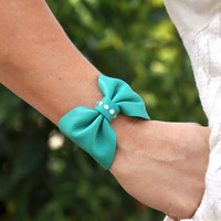 Tiffany Blue Leather Bow Bracelet Cuff with Rhinestones