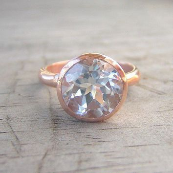 14k Rose Gold Ring and White Topaz Gemstone ROCK by onegarnetgirl