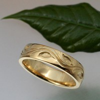WEDDING BAND Leaf and Vine Design, 5.5mm, 14k yellow or white gold