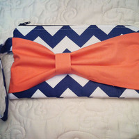 Chevron Bow Clutch in Navy and Coral