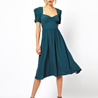 ASOS Midi Dress With Covered Buttons at asos.com