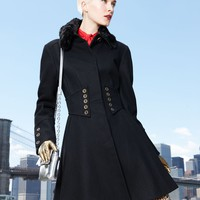 Betsey Johnson Coat, Faux-Fur Corset Flared - Womens Coats - Macy&#x27;s