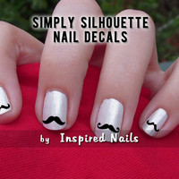 Mustache Nail Decals Black and Clear Simply Silhouette by Inspired Nails