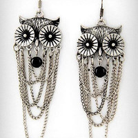 Chained to the Night Owl Earrings | PLASTICLAND