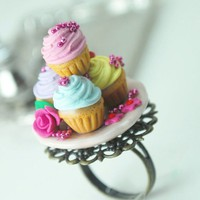RESERVED for Rhijia. Marie Antoinette Cupcake Ring in Polymer Clay. Under 30 USD. Handmade Miniature Polymer Clay Food Jewelry.