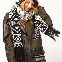 ASOS Monochrome Aztec Fringed Scarf at asos.com