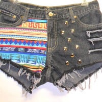 Cruel Girl  black LOW Rise Denim Shorts Tribal Print  with Studs Sz 9