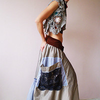 Ecru and Burgundy Long Skirt
