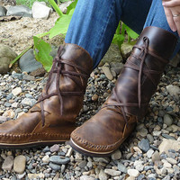 "Special discount. Beautiful Earthy Natural ""Crazy Horse"" Leather Moccasins"