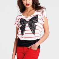 Stripe Bow Tee