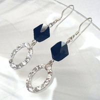 Crystal and Sterling Silver Earrings, Hammered Link Earrings, Black Swarovski Crystal Earrings