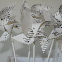 Wedding favor Pinwheels Music Notes 12 Mini Pinwheels  by aubabi78