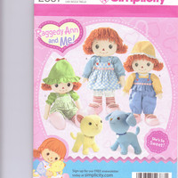 New Simplicity Pattern Craft Raggedy Ann and Me 16 inch doll stuffed dog stuffed cat doll clothes three ouftits