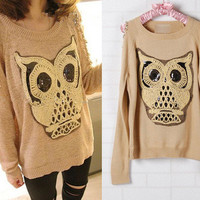 BEST SELLING 2012 NEW ARRIVAL FASHION lovely paillette owl off-shoulder sweater