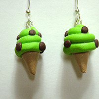 So Cute Ice Cream Cone Polymer Clay Earrings, Pierced